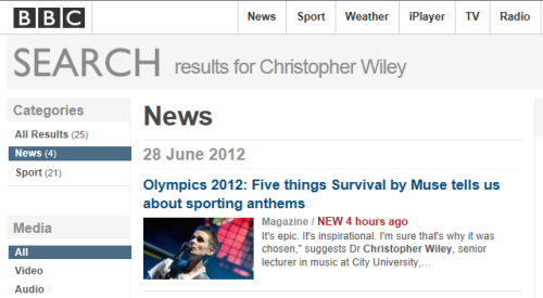 Dr Christopher Wiley on BBC News website