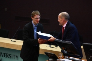 Dr Christopher Wiley receives the Student Voice Award 2012